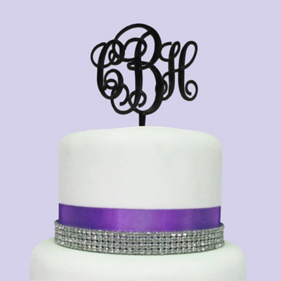 Three Letter Monogram Cake Topper