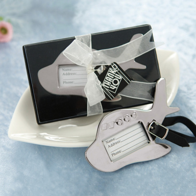Airplane Luggage Tag Wedding Place Card Holder Favor