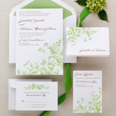 Antique Blossoms Wedding Invitation