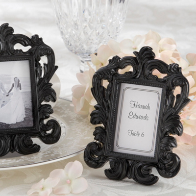 """Black Baroque"" Wedding Place Card Holder and Photo Frame"