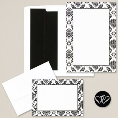 black and white damask diy invitation kit