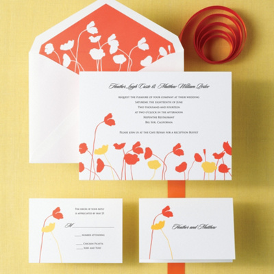 California Poppy Wedding Invitation