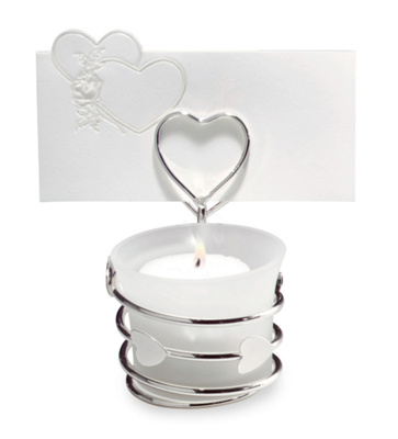 Candle Wedding Place Card Holder with Heart Accent