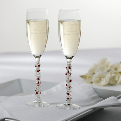 Austrian Crystal Wedding Toasting Flutes
