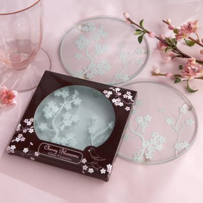 Cherry Blossom Wedding Favor Coasters