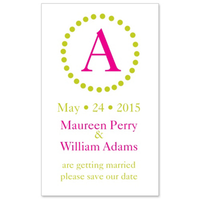 Circle Initial Save the Date Wedding Magnet