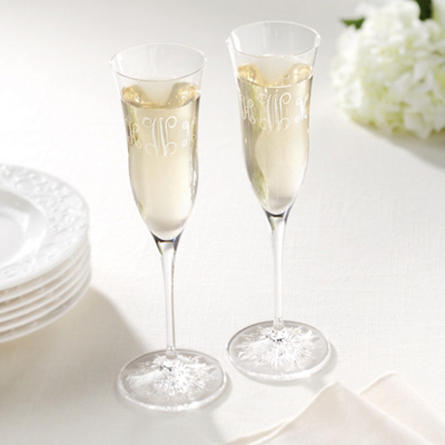 Clearly Waterford Wedding Toasting Flute Pair