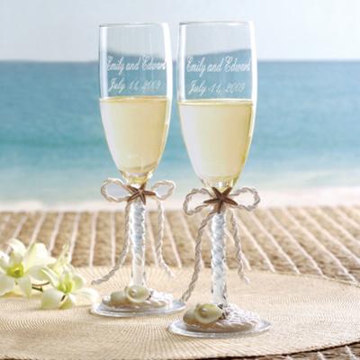 Coastal Mist Wedding Toasting Flutes