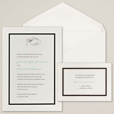 Colorful Chic Wedding Invitation in Ecru
