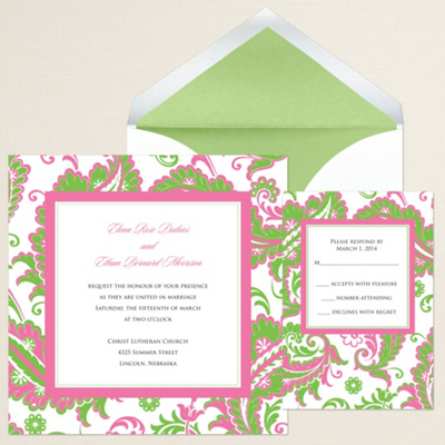 Colorful Paisley Wedding Invitation