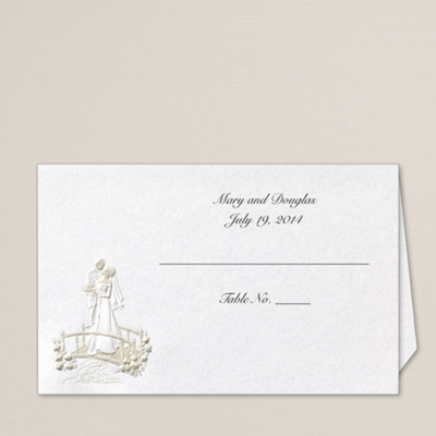 Couple on Bridge Wedding Place Card