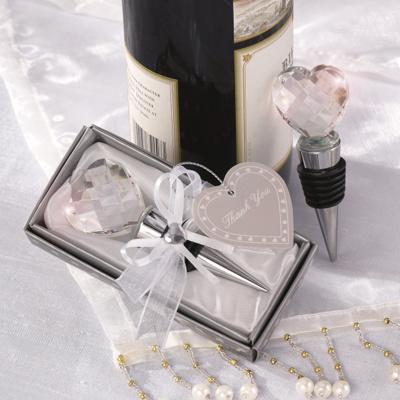 Crystal heart bottle stopper wedding favor wedding favors