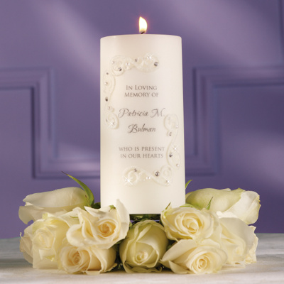 Crystals And Lace Candle Wedding Memorial Candles