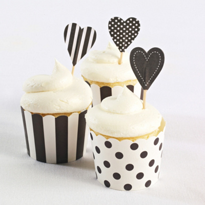Cupcake Toppers (pack of 25)-Black Hearts