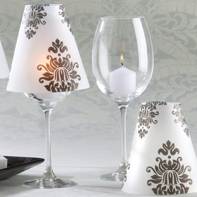 Damask Vellum Shades For Wedding Candles - Set of 24