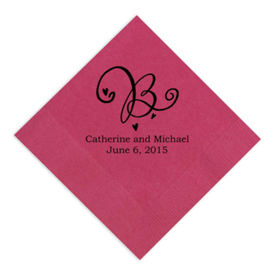 decorative initial wedding napkins personalized wedding napkins