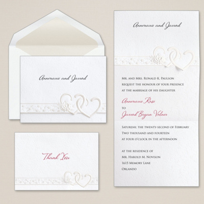 Double Pearl Hearts Wedding Invitation