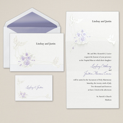 Doves with Roses Wedding Invitation                 (was $86.95 for 100)