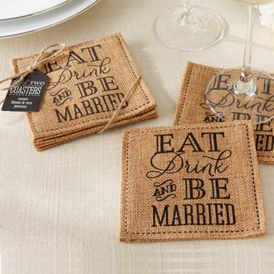 Eat, drink and be married burlap coasters (set of 2)   210 2753 av1