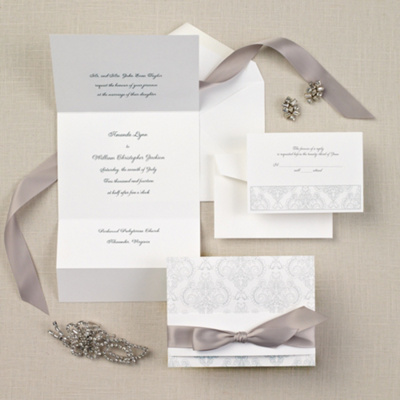 Elegant Damask Wedding Invitation In Bright White Wedding Invitation