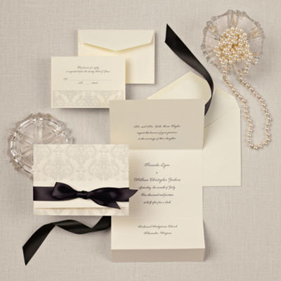 Elegant Damask Wedding Invitation In Ecru Wedding Invitation