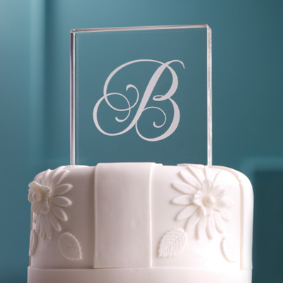Elegant Single Initial Wedding Cake Top