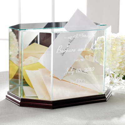 Wedding Gift Personalised Box : Personalized Glass Wedding Box Keepsake for Money Envelopes