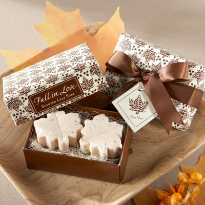 """Fall in Love"" Leaf-Shaped Soaps Wedding Favor"