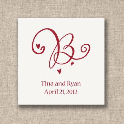 Decorative Initial Wedding Favor Tags