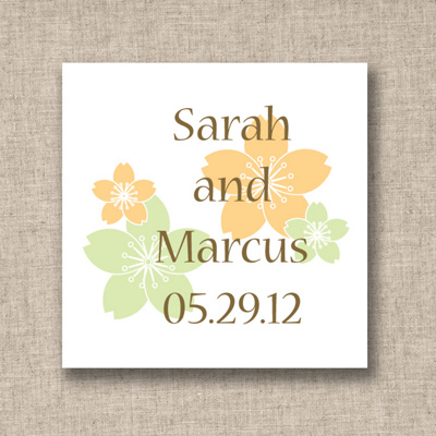 Hibiscus Design Wedding Favor Tags