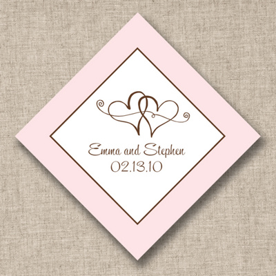 Twin Hearts Wedding Favor Tags
