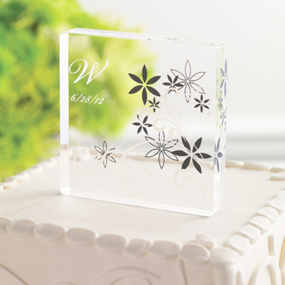 Floral Acrylic Wedding Cake Topper