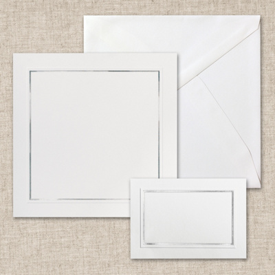 Framed in Silver Bright White DIY Invitation Kit