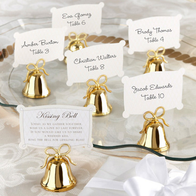 "Gold ""Kissing Bells"" Place Card Holder, Set of 24"