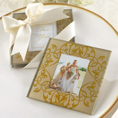 Golden Brocade Photo Coasters Wedding Favor -Set of 2