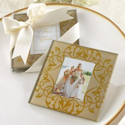 Golden Brocade Photo Coasters Wedding Favor -Set of 2