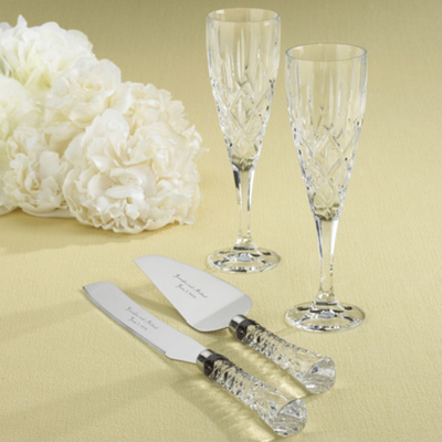 Gorham Crystal Toasting Flute and Serving Set Collection