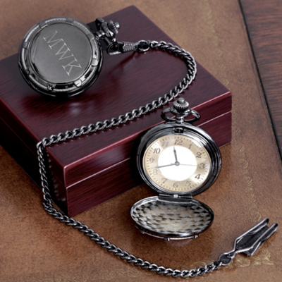 Personalized Gunmetal Pocket Watch for Groomsmen
