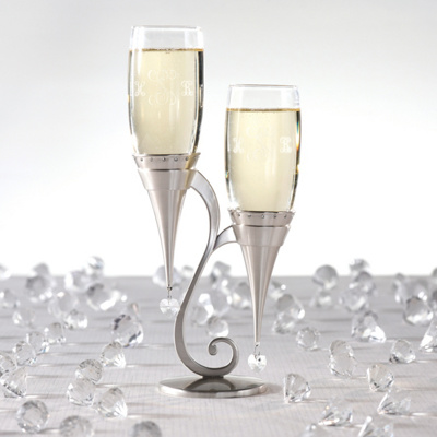 Heart Jewel Toasting Flutes and Silver Holder Set