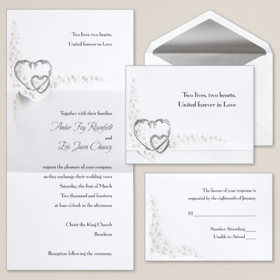 Hearts and Roses Wedding Invitation
