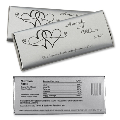 Twin hearts large hersheys chocolate bar wrappers wedding favors
