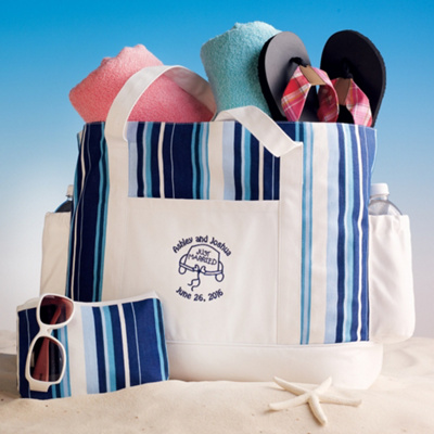Honeymoon Tote Bag for Two in Blue and White