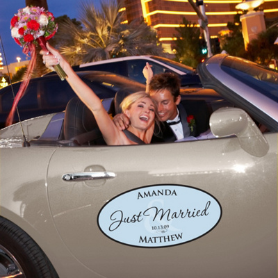 Large Personalized Wedding Window Cling for your Car