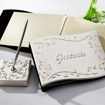 Lenox Opal Innocence Wedding Guest Book and Pen Set