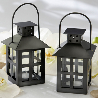 Luminous Black Tea Light Lantern Wedding Centerpiece