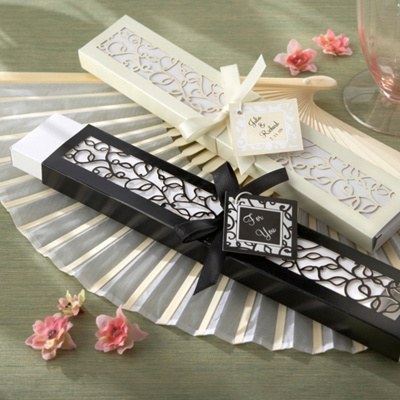 Silk Fan Wedding Favor in Laser Cut Box