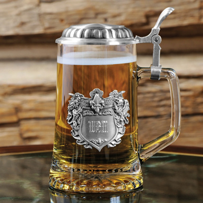 Engraved Medieval Glass Tankard for Groomsmen