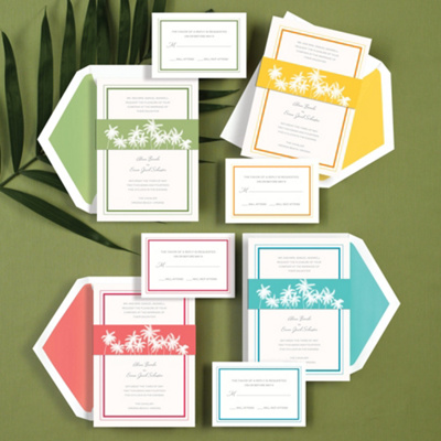 Palm Tree Band Wedding Invitation