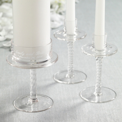 Personalized Glass Wedding Unity Candle Holders