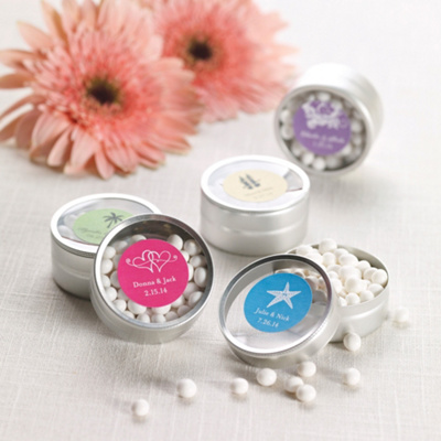Exclusively weddings personalized round wedding favor tin
